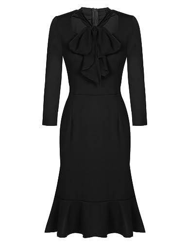 ACEVOG Women's Vintage 50s Bodycon Formal Casual Party Pencil Dress Scarf Top