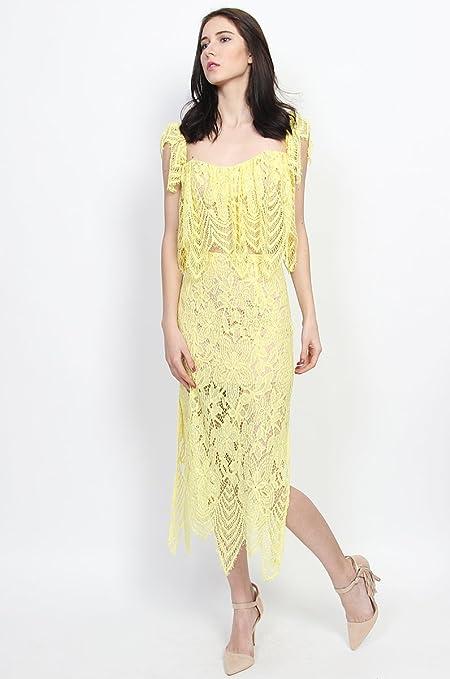 db17cecef9 TheMogan Womens Eyelash Feather Hem Lace Overlay Slit Long Midi Skirt  Clothing, Shoes & Jewelry Night Out