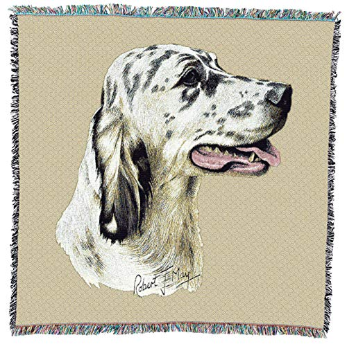 Pure Country Weavers - English Setter 2 Woven Throw Blanket with Fringe Cotton. USA Size 54x54