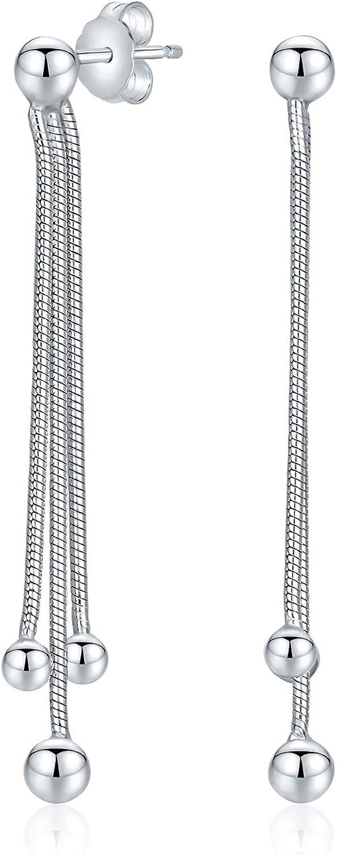 Boho earrings Minimalist geometric line earrings Gift Sterling silver bar dangle drop threader earrings Long silver chain earrings