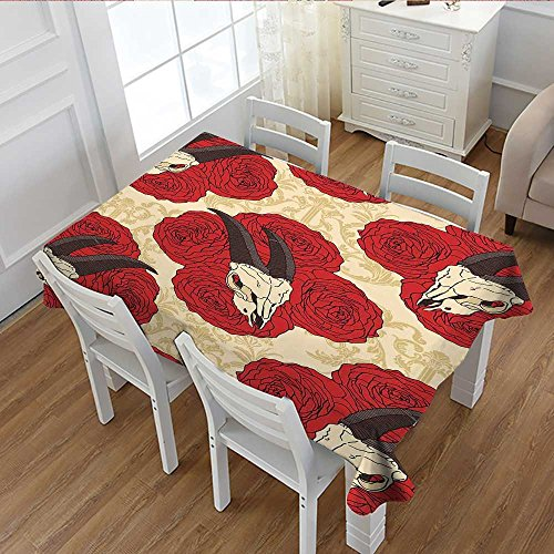 Littletonhome Gothic Decor Patterned Tablecloth Goat Skull on Red Roses Horn Pattern Animal Bone Traditional Symbol Art Print Dust-proof Oblong Tablecloth 60