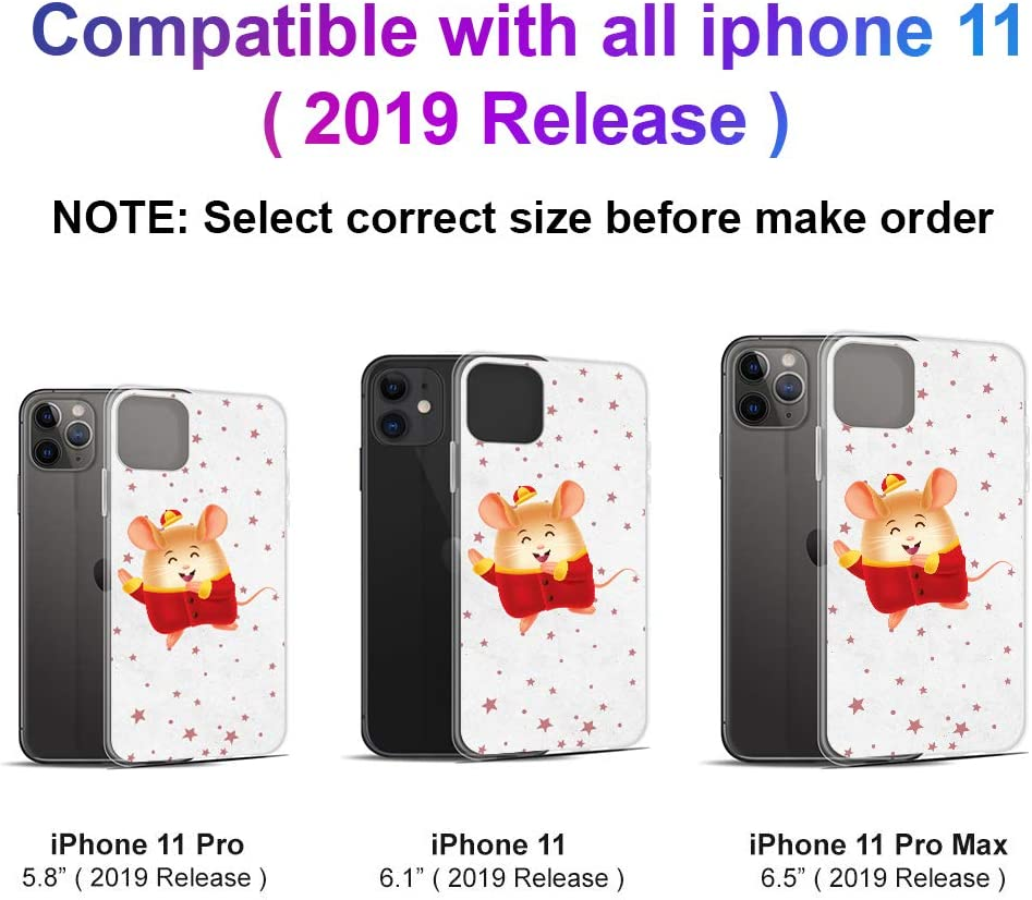 Compatible for iPhone 11 Pro Max 2020 Happy Lunar New Year of The Rat Lucky Mouse Star Anti Bumps Scratches
