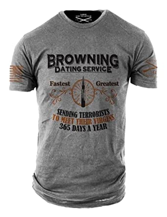 07d0c2e2 Amazon.com: Grunt Style Browning Dating Service Men's T-Shirt: Clothing