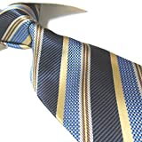 Extra Long Fashion Tie Microfibre Stripe XL Men's Jacquard Necktie 63'' (Blue/Golden)