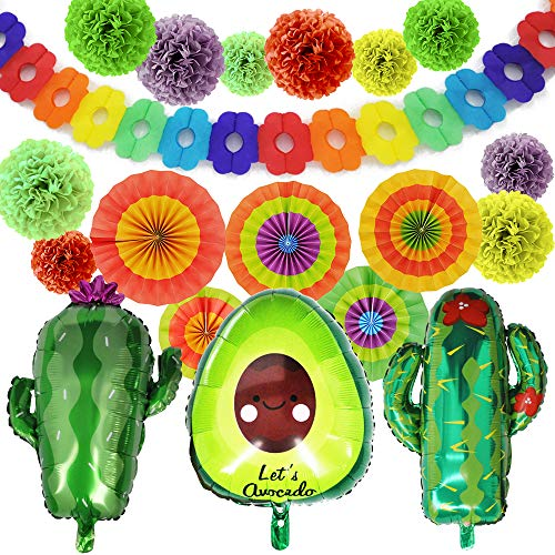 "19 PCs Cinco De Mayo Fiesta Foil Balloons Set with 24"" Large Cactus & 30"" Avocado Balloons, Tissue Pom Paper Flowers, Hanging Paper Fans & Backdrop Banner for Cinco De -"