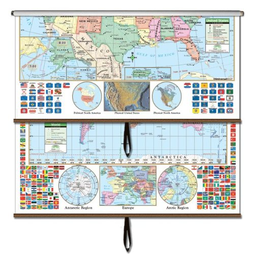 U.S./World Primary Wall Map Combo Roller (Primary Classroom Wall Maps) by Kappa Map Group