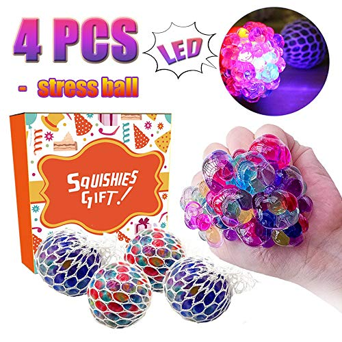 (TURNMEON Mesh Stress Balls - 4 Pack LED Light Up Squeeze Ball Soft Grape Ball Stress Relief Ball for Kids Adults Sensory Rubber Ball for ADHD Fidget Toys Holiday Birthday School Gifts)