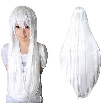 Ularma Peluca de Masquerade, 80CM larga recta pelucas llenas a prueba de calor (blanco