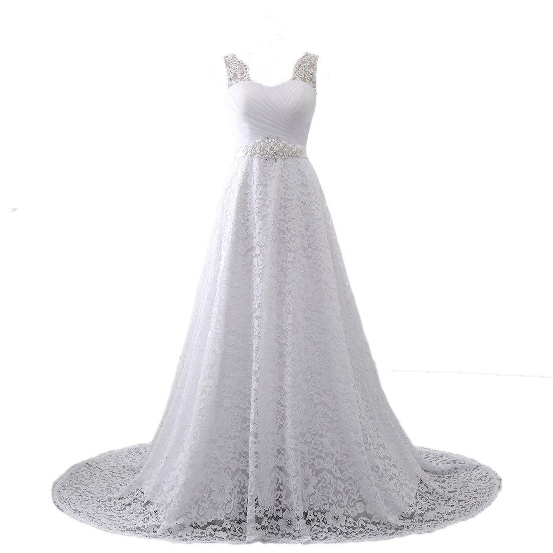 Westcorler Women's Lace A-Line Bridal Wedding Dresses (26plus, Ivory) by Westcorler
