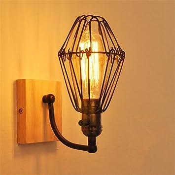 Xcj vintage industrial applique murale applique lampe lampe cage en fer base en bois intérieur et