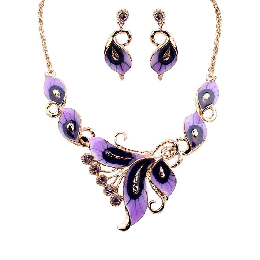 Youkara collana girocollo per donne e ragazze in lega a forma di farfalla collana orecchini set