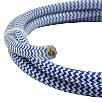Cable de tela, 10 m, color azul y blanco, diseño en zigzag, 3G, 0 ...
