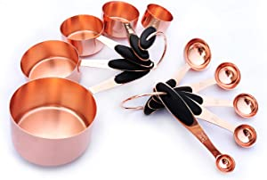 10 Piece Set Measuring Cups Spoons for Accurate Allocating Dry and Liquid Ingredients, Cooking Baking Measuring Tools, Stainless Steel Measuring Cups Spoons Set (Rose Gold)