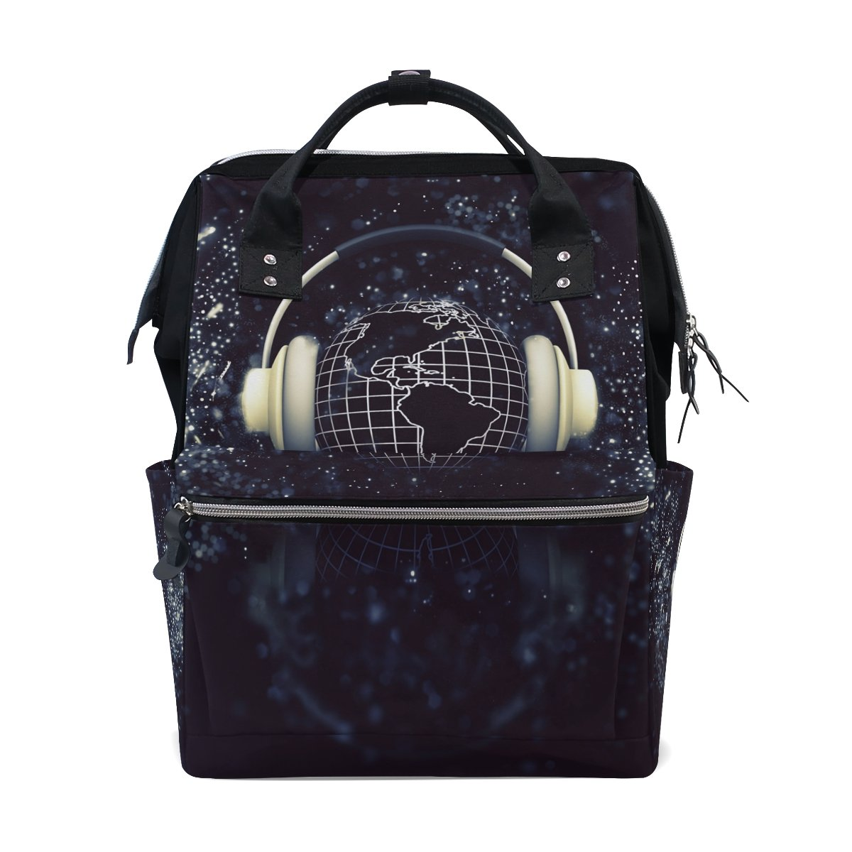 FENNEN Music Word Travel School Backpack Casual College Lightweight Laptop Backpack Large Capacity Shoulder Diaper Bag for Women Men