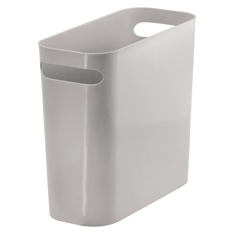 mDesign Cestino spazzatura con manici in plastica robusta– Cestino ideale per raccolta differenziata – Ideale come cestino ufficio, bagno e camera – Capacità fino a 5,7 l – bianco 7 l - bianco MetroDecor 1678MDBA