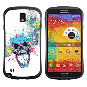 ZAAAZ TPU / PC Hybrid Back Case Cover Samsung Galaxy Note 3 III - Floral Skull Blast -