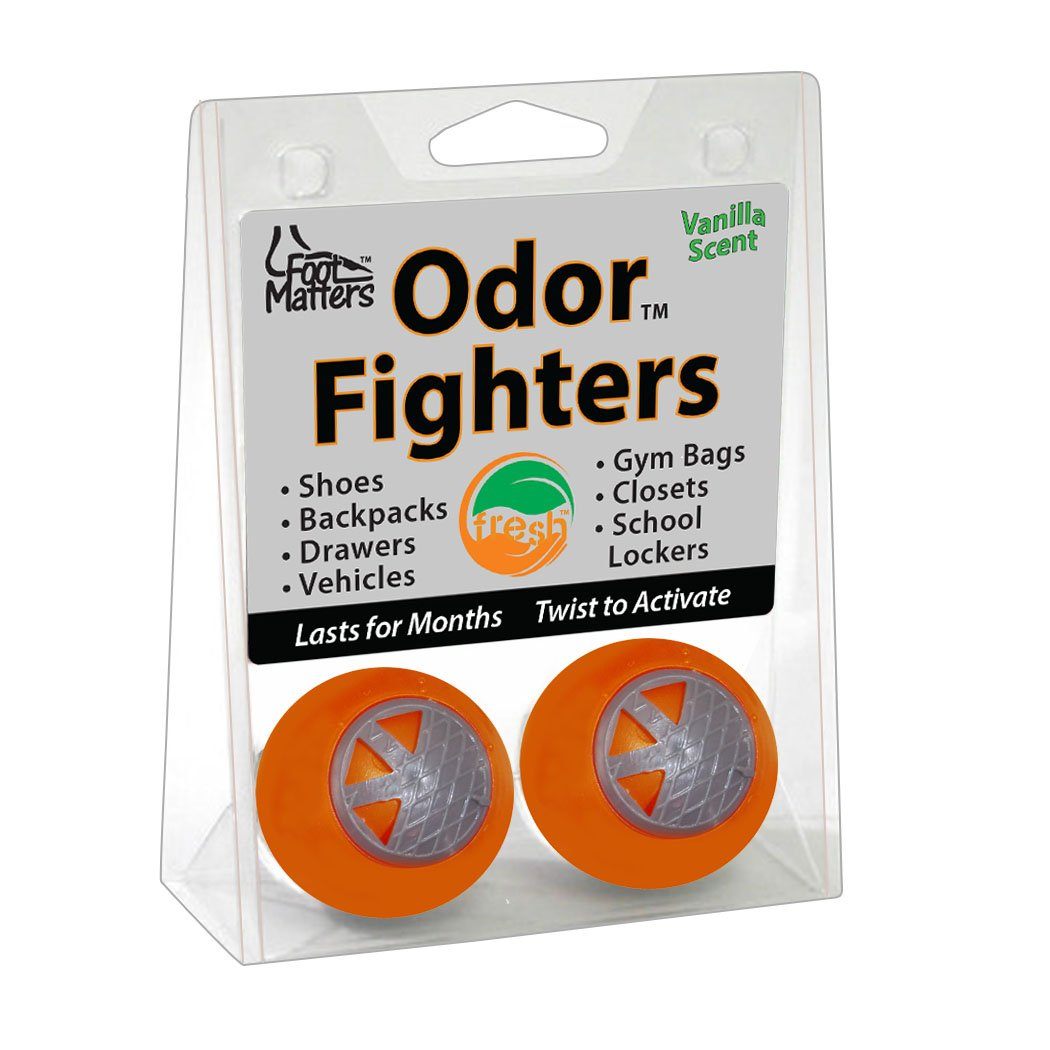FootMatters Odor Fighters Shoe Deodorizer Balls (Contains 4 balls) - Keep Areas Smelling Fresh & Clean - Great For Shoes, Boots, Gym Bags, Lockers & Vehicles - Fresh Adjustable Vanilla Scent - Lasts for Months 14056
