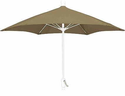 FiberBuilt Umbrellas Patio Umbrella, 9 Foot Beige Canopy And White Pole