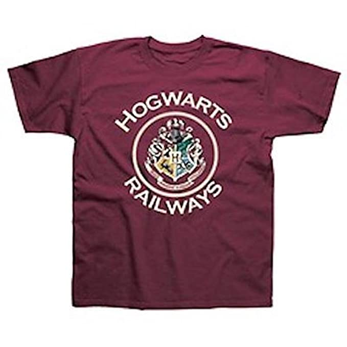 Harry Potter - Hogwarts Railways Logo - Camiseta Oficial Hombre - Rojo, Small