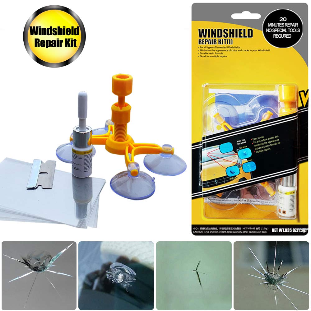 GLISTON Car Windshield Repair Kit for Chips and Cracks, Bulls-Eye, Spider Web, Star-Shaped, Nicks, Half-Moon Crescents