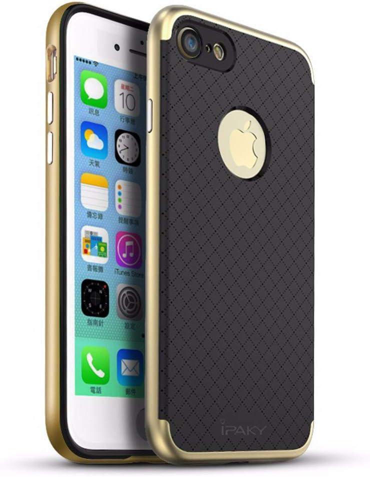 iPhone 7 Plus / iPhone 8 Plus Funda, Ipaky Protección interna TPU Flexible [Ultra Resistente] Marco Exterior Rígido PC efecto Metal [Anti Golpes] Carcasa Híbrida Bumper - Dorado.