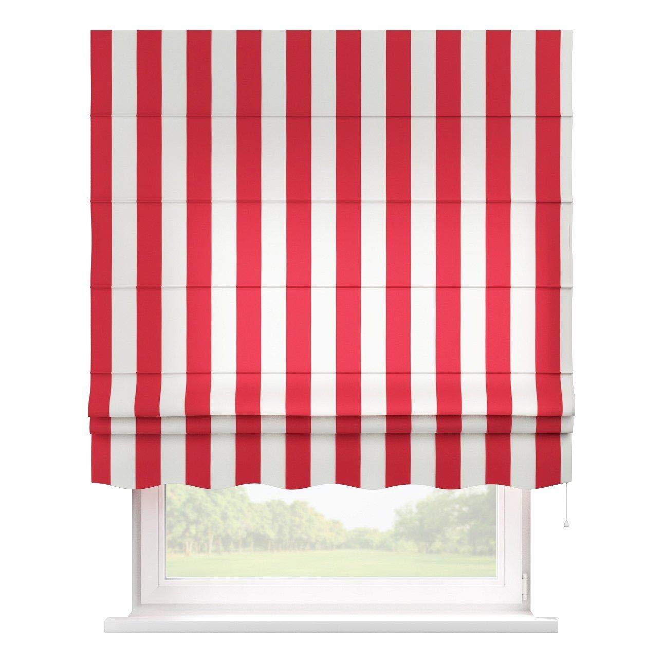 Dekoria Raffrollo Firenze ohne Bohren Blickdicht Faltvorhang Raffgardine Wohnzimmer Schlafzimmer Kinderzimmer 80 × 170 cm rot-weiß Raffrollos auf Maß maßanfertigung möglich