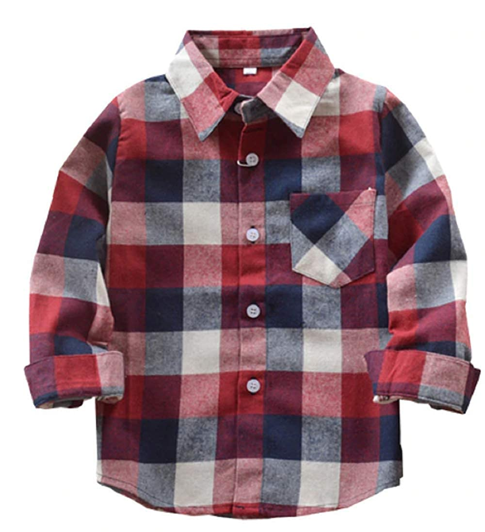 1 2 Buckle My Shoe Flannel Plaid Button Down Long Sleeve Shirt Boys Girls Toddlers Kids