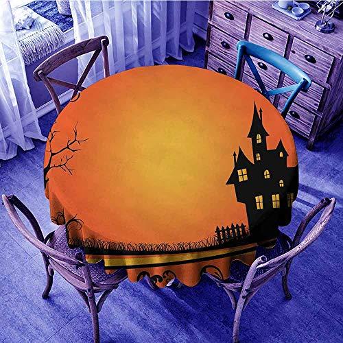 ScottDecor Halloween Tassel Tablecloth Framework with Curvy Tree Branches Swirls Leaves Gothic Castle Festival Food Round Tablecloth Orange Yellow Black Diameter ()