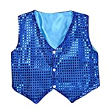 iEFiEL Boys Girls Sequined Vest Top Waistcoat Costume Kids Choir Jazz Dance Stage Performance Fancy Jacket Blue 10-12