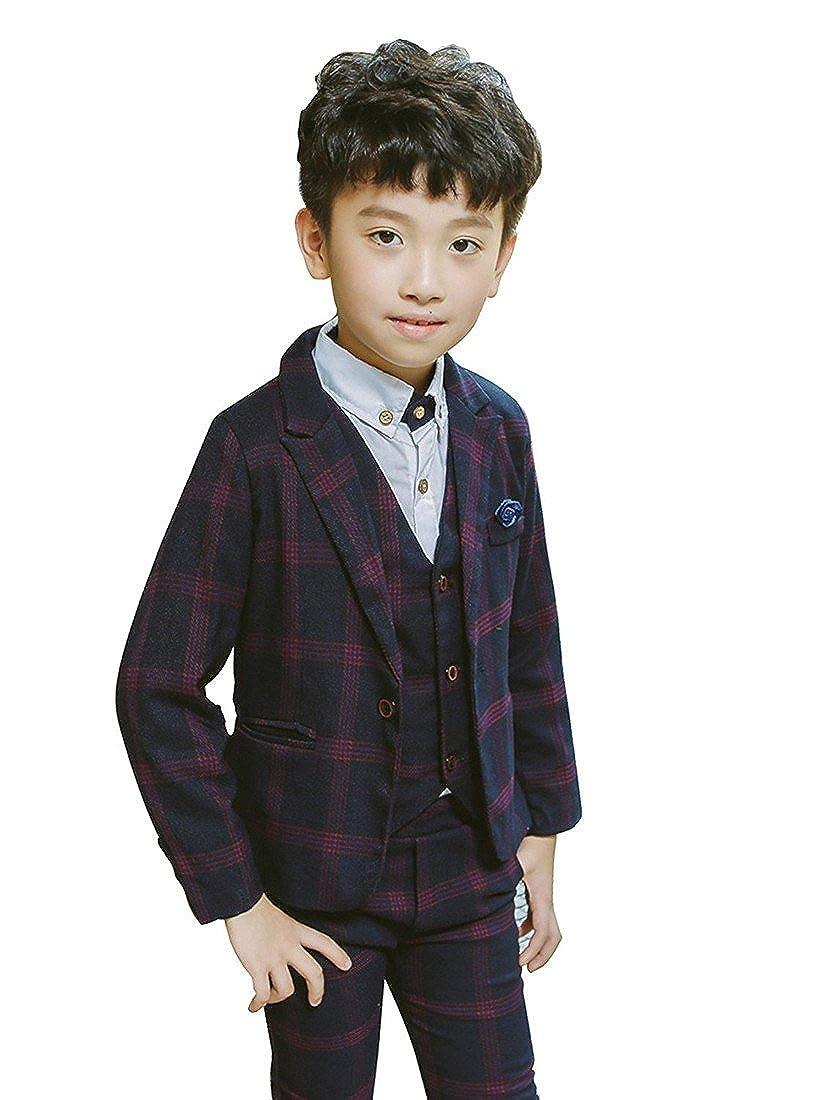 72779a76f1a Gele Boy 3 Pieces Plaid Formal Suit,Jacket+Vest+Pants
