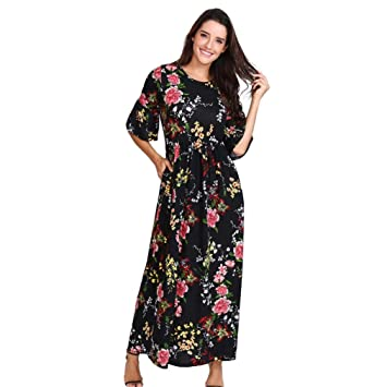 fff404ae249 Women s Casual Floral Printed O-Neck Flare Sleeve Ruffled Pocket Long Maxi  Dress Plus