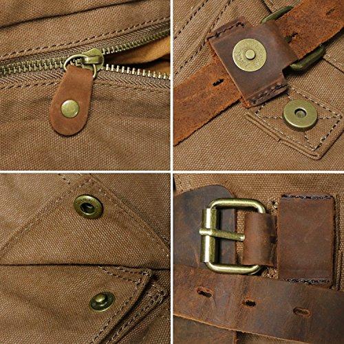 Bolsa Lona verde Moda de claro Instituto Cuero Hombre para Mensajero Estilo Marrón ejércto KIPTOP Retro con bolso qfXw6wE