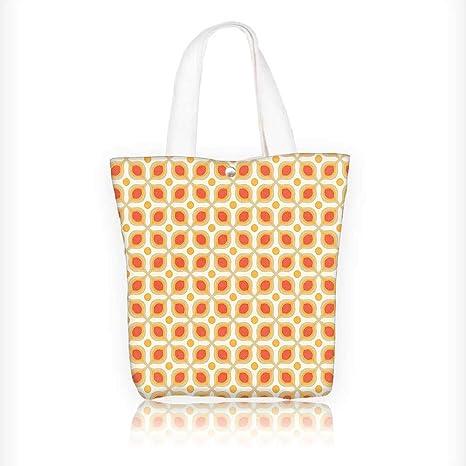 94b28bb44c Women s Canvas Tote Handbags Linked Bold Geometric Shapes 70S Vintage Style  Minimalist Pattern Boho Orange Cream