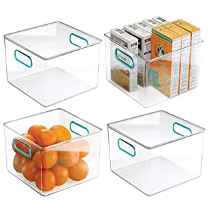 mDesign Plastic Food Storage Container Bin with Handles for Kitchen, Pantry, Cabinet, Fridge/Freezer - Cube Organizer for Snacks, Produce, Vegetables, Pasta - BPA Free, Food Safe - 4 Pack, Clear/Blue