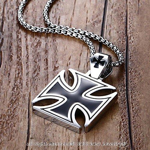 BOBIJOO Jewelry - Pendentif Homme Croix de Fer Allemande Iron Cross Noire Acier Malte Biker Chaîne