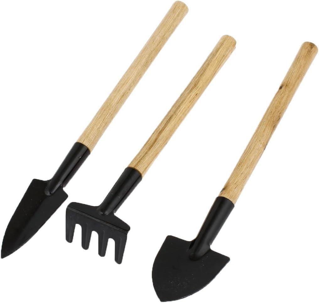 uxcell Wood Handle Hollow Out Design Rake Shovel Digging Trowel