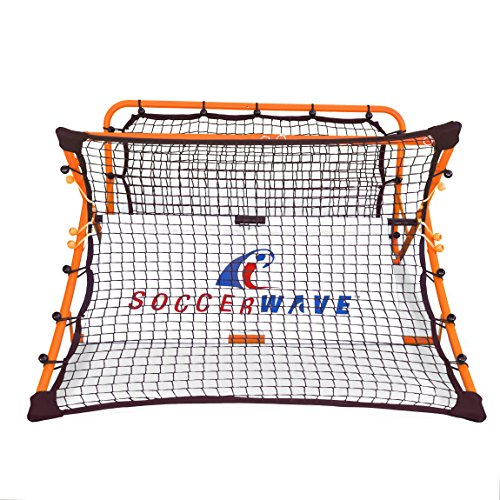 SoccerWave Jr. 2 in 1 Soccer Rebounder net to Improve Soccer Passing Accuracy, Soccer Volley Shot and Soccer Trapping. Works as a Soccer Solo Trainer or Soccer Team Training for (Steel Rebounder)