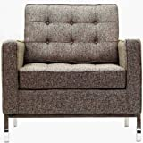 Modway Florence Style Armchair Chair in Oatmeal Wool