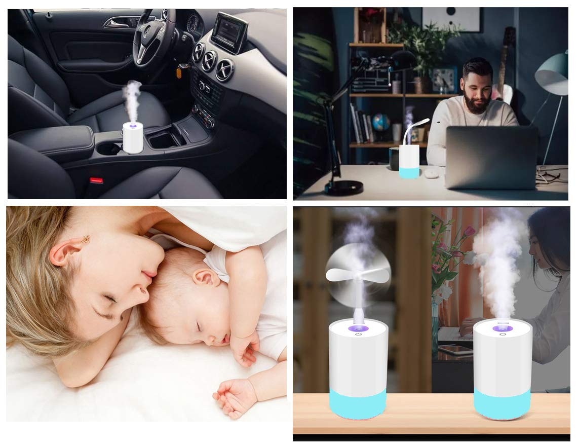 USB Mini Humidifier 350ml Small Car Diffuser for Office, Bedroom, Whole Room, Travel, Small Bedside Kids Baby Humidifiers for Nursery