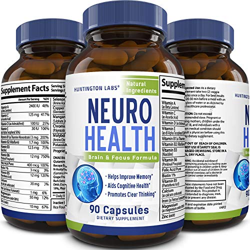 Mind Enhancement Supplement Natural Nootropic Pills for Men and Women Boost Focus Clarity Improve Memory Reduce Forgetfulness Anti Aging Cognitive Enhancement 90 Capsules by Huntington Labs (Best Anti Aging Supplements 2019)
