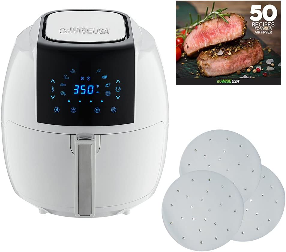 GoWISE USA 5.8-Quarts 8-in-1 Air Fryer XL with 1-Pack Parchment Paper (White)