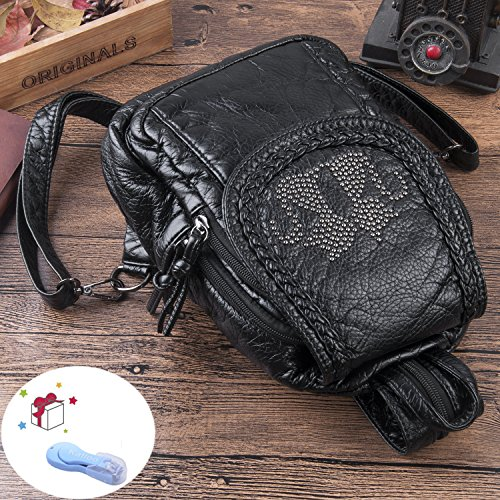 Leather Purses Clipper Sling Nail Katloo Backpack Small Vegan Black Women Bag Mini W6wWqvUBY