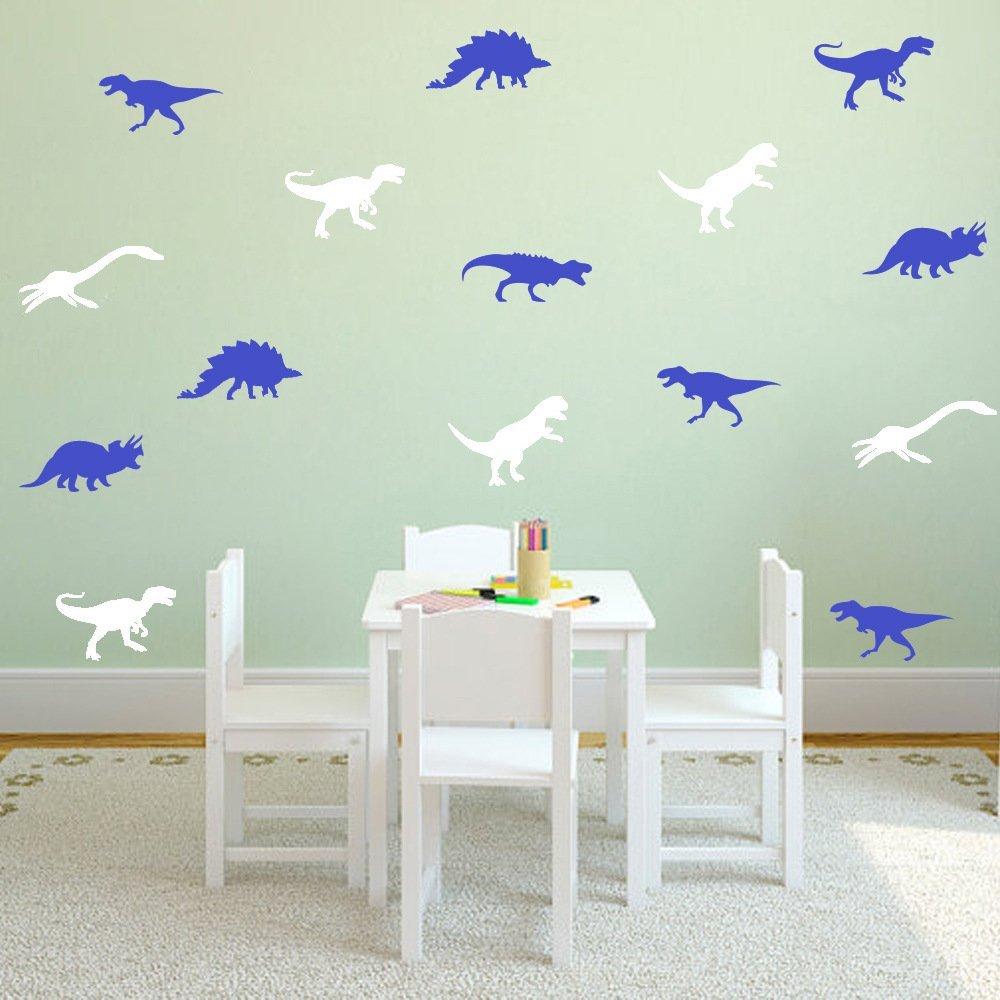 Blue Amaonm Set of 9 PCS Removable DIY Cute Cartoon Animals Vinyl Dinosaur Wall art Decor Decals Kids Room Wall Stickers Murals Peel /& Stick art for Living room Nursery Room Bedroom