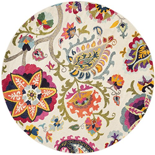 Safavieh Monaco Collection MNC229A Modern Colorful Floral Ivory and Multicolored Round Area Rug (6'7