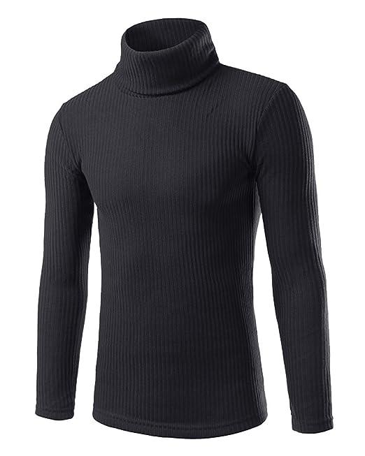 Homme Casual Manches Longues Pull Col Roulé Chandails Sweater Chaud  Chandail Noir XL b016656866cb