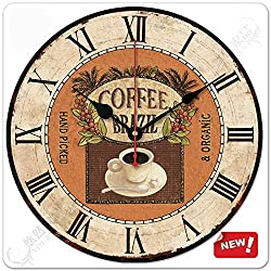 12 Retro Vintage Coffee Cup Country Tuscan Style Non-Ticking Silent Wooden Wall Clock Art Decoration