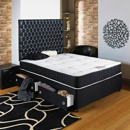 Chester Headboard (Hf4you Black Chester Ortho Divan Bed - 5ft King Size - End Drawer - 30
