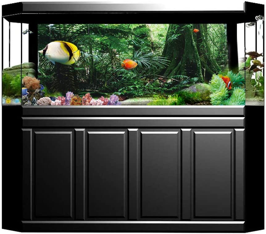 Camidy PVC Reptile Box Rainforest Background Poster Fish Tank Wall Picture Painting Decoration Self Adhesive Sticker 122 * 46cm