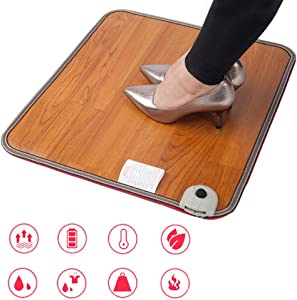 whenear Foot Warmer Feet Heated Mat, Wood Stripe Carbon Crystal Heating Pads Under Desks, Electric Carpeted Toes Warming Heater for Office Worker,Bonus US Converter