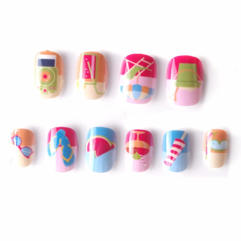 Beach Kawaii False Nails for Children 5 Sizes 20 Pcs Pre-glue Press on Summer Fake Nail Tips for Kids Little Girls LIARTY